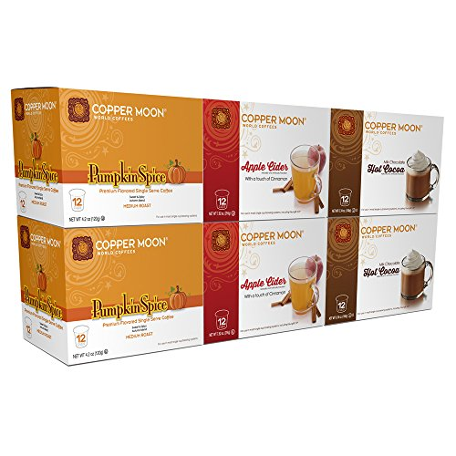 Copper Moon Coffee Single Serve Pods for Keurig 2.0 K-Cup Brewers, A Taste Of Fall Variety Pack (two 12 ct. Pumpkin, two 12 ct. Apple Cider, two 12 ct. Hot Cocoa) 72 Count (Coffee Chocolate Apple)