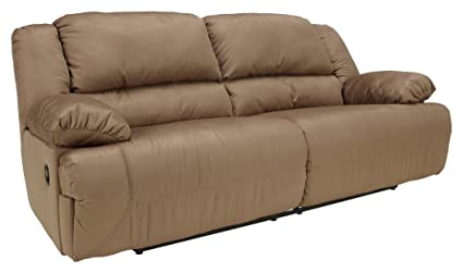 Ashley Furniture Signature Design   Hogan Reclining Sofa   Manual Recliner  Couch   Mocha Brown
