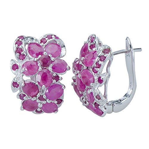 Sparkling Natural Rare African Red Ruby Gemstones 925 Sterling Silver Earrings ()