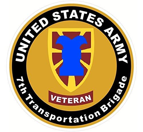 Chiam-Mart 1 Set Amazing Unique United States Army Veteran 7th Transportation Brigade Sticker Signs Military Car Decal Bumper Trucks Window Kids Laptop Cars Vinyl Stickers Decor Size 4.5