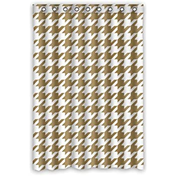 Houndstooth Shower Curtain   Tan White Houndstooth Bathroom Shower Curtains  Polyester Waterproof 48 Wide X 72