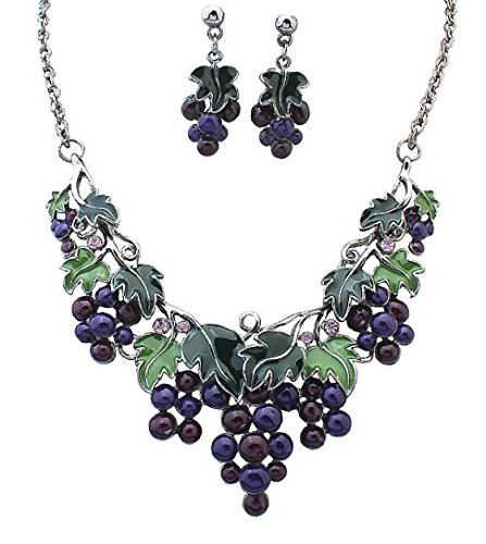 Inkach Women Grape Shape Style Bib Statement MultiLayer Choker Necklace Earring Jewelry Set