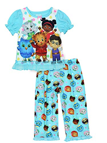 Daniel Tiger Toddler Girls Short Sleeve Poly Pajama Set (5T, Blue) -