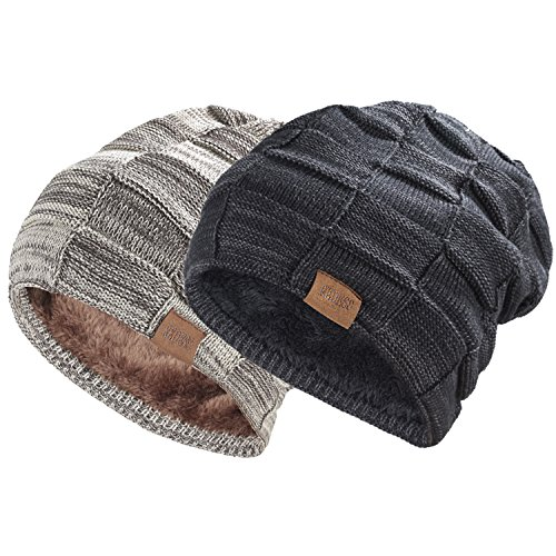 Mens Winter Hat - REDESS Beanie Hat for Men and Women Winter Warm Hats Knit Slouchy Thick Skull Cap(2 Packs Black&Brown)