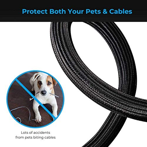 Yecaye 26ft - 3/4 inch Cable Management Sleeves, Cord Protector Wire Loom Tubing, Split Cable Sleeve for Wire, USB Cable and Audio Video Cable – Protect Pet From Chewing Cords - Black