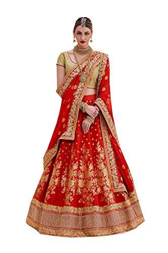 Da Facioun Womens Brocade Fabric Red Pretty Circular Lehenga Style 83831