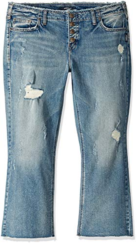 Button Fly Distressed Jeans - Silver Jeans Co. Women's Aiko Fit Mid-Rise Boot Crop, Button Fly Distressed, 34x26