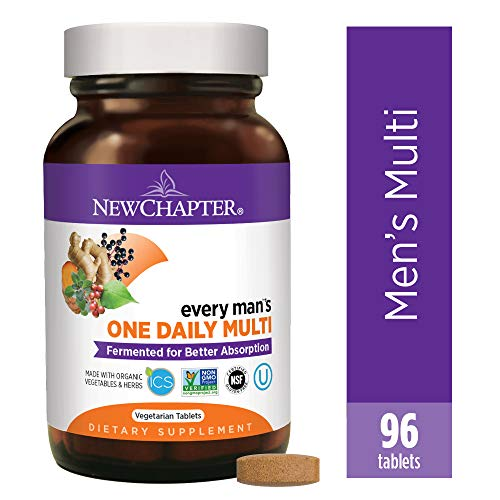 New Chapter Men's Multivitamin, Every Man's One Daily Fermented with Probiotics + Selenium + B Vitamins + Vitamin D3 + Organic Non-GMO Ingredients - 96 ct (Packaging May Vary)