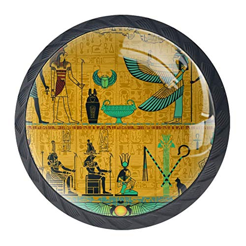 (DJROW Egyptian Pharaoh Totem 4 Pcs Cabinet Knobs 30mm Drawer Kitchen Cabinets Dresser Cupboard Wardrobe Unique Pulls Handles)