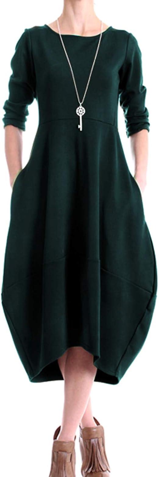 Audate Damen Knielange Kleider Bubble Hem Rundhals Langarm Midi Kleid Mit Taschen De 36 44 Amazon De Bekleidung