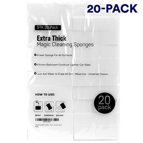 Price comparison product image STK 20 Pack Extra Thick Magic Cleaning Sponges - Eraser Sponge For All Surfaces - Kitchen-Bathroom-Furniture-Leather-Car-Steel - Just Add Water to Erase All Dirt - Melamine - Universal Cleaner
