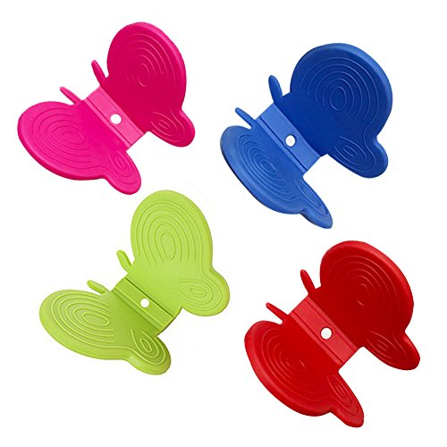 BleuMoo 2Pcs Adorable Butterfly Shaped Silicone Anti-scald Devices Kitchen Tool Gadget