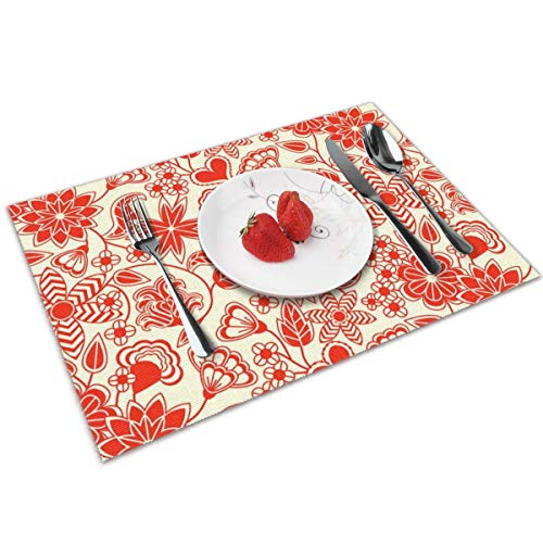 Redwork Kitchen - Redwork Table Mats Placemats Countertop Protection for Kitchen Dining Table Heat Resistant Baking Mat