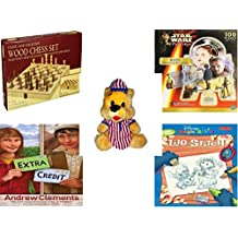 """Children's Gift Bundle - Ages 6-12 [5 Piece] - Classic Wood Folding Chess Set Game - Star Wars Episode I R2-D2 Shaped 100 Piece Puzzle - Striped PJ's Nightime Bear Plush 11"""" - Extra Credit (Junior L"""