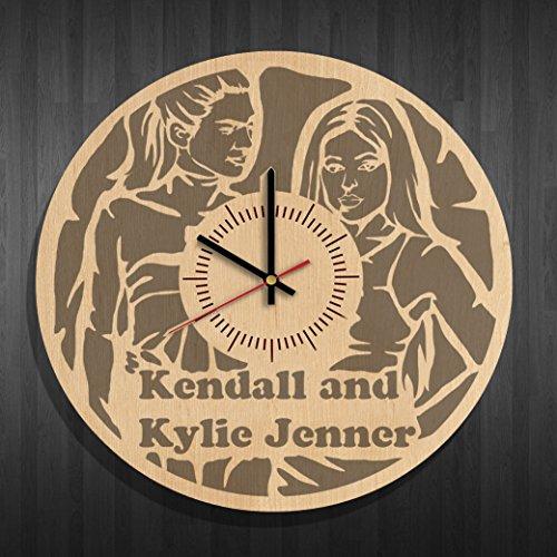 Wooden wall clock with original design kendall and kylie jenner, kendall and kylie jenner decal, best gift for kendall and kylie jenner fans
