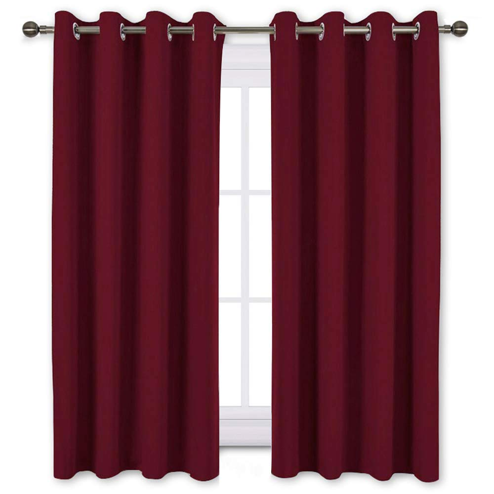 NICETOWN Burgundy Blackout Draperies Curtains - Thermal Insulated Solid Grommet Blackout Curtains/Panels/Drapes for Christmas & Thanksgiving Present (One Pair, 52 by 63-Inch, Burgundy Red)