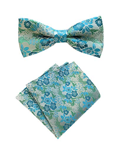 - Men Turquoise Cyan Blue Green Pre-Tied Bow Tie Towel Set Floral Woven Silk Formal Bowties for Gentleman