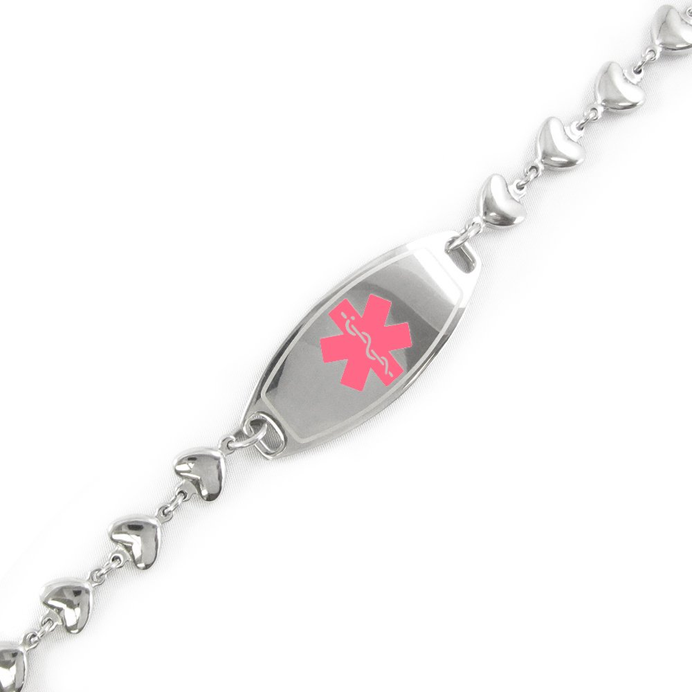 My Identity Doctor - Pre-Engraved & Customizable Breast Cancer ID, Medical Alert Bracelet, 6mm Heart Chain (Pink)