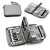WIN DESIGN Travel Cable double-deck Organizer for iPad mini, power bank and E-Readers,Portable Universal Electronic Accessories Storage Case, Charging Cords, USB Charger bag