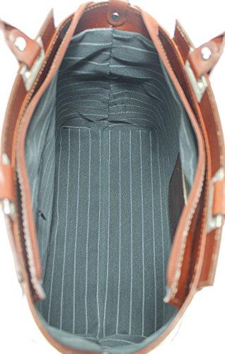 Tutto Elegante In Donna 100 A Chicca Mano Pelle Ctm Vera Moda Marrone Made Da 34x26x14cm Sera Borsa Italy 1wqZf0Fd
