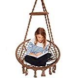 Hammock Chair Macrame Swing Handmade Cotton Rope Haning Swing Chair for Indoor and Outdoor Brown Color, Max Capacity 265 Lbs