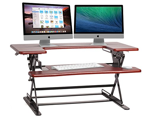 Halter ED-600 Preassembled Height Adjustable Desk Sit / Stand Elevating Desktop - Cherry by Halter