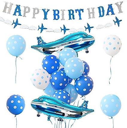Amazon.com: Decoración de cumpleaños para avión, globos de ...