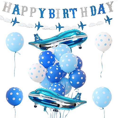 Airplane Birthday Decorations Airplane Balloons Birthday Banner for Boys Birthday Party -