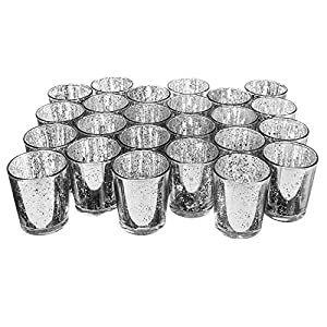 Royal Imports Mercury Speckled Glass Votive Tealight Candle Holder for Weddings, Parties, Holiday & Home Decor, Silver, Set of 24 - unfilled by Royal Imports