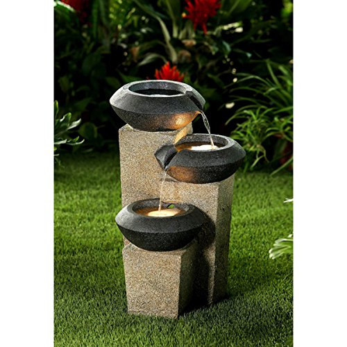 Three-tiered Modern-style Illuminated Water Fountain by Jeco Inc.