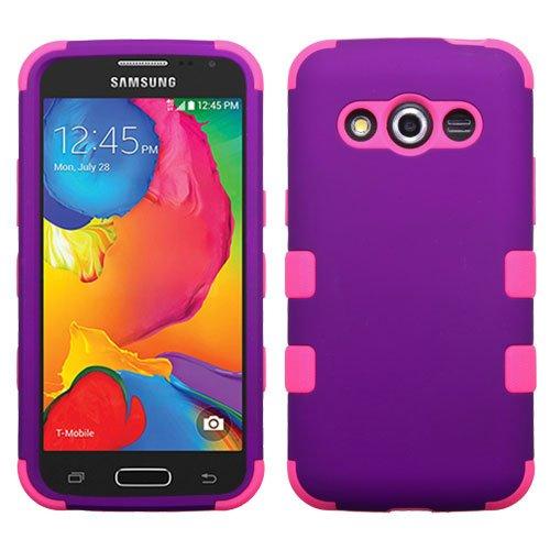 Galaxy Avant G386 Case - Wydan (TM) TUFF Impact Hybrid Hard Gel Shockproof Case Cover For Samsung Galaxy Avant G386 - Purple on Pink