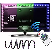 LED TV Backlight, EASTSHINE Bias Lighting Multi Color RGB Lights 118In 9.8Ft 60 Leds/M USB Powered Strip with RF Remote For HDTV Home Theater LCD Desktop PC