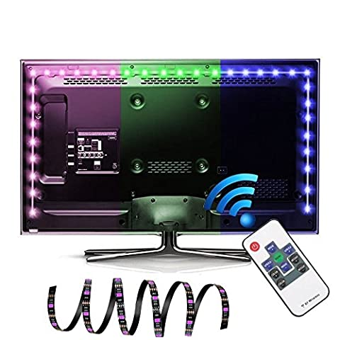 LED TV Backlight, EASTSHINE Bias Lighting Multi Color RGB Lights 118In 9.8Ft 60 Leds/M USB Powered Strip with RF Remote For HDTV Home Theater LCD Desktop (75 Inch Projector Screen)