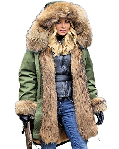 - Aofur Womens Hooded Faux Fur Lined Warm Coats Parkas Anroaks Outwear Winter Long Jackets (Large, Green)