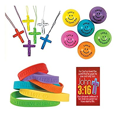 145 Piece Religious Christian Themed Party Favors Gift Bundle Set for Kids by Parties Can Be Simple by Parties Can Be Simple