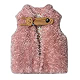 Girls' Waistcoat Cat Bag Button With Floral Lined Thick Fleece Vest Pink Size 6