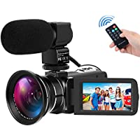 Digital Camcorders Full HD 1080P 30FPS 24MP Video Camera 16X Digital Zoom IR Night Vision Digital Camcorder with External Microphone and Wide Angle Lens
