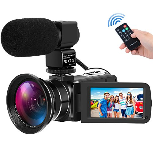 Digital Camcorders Full HD 1080P 30FPS 24MP Video Camera 16X Digital Zoom IR Night Vision Digital Camcorder with External Microphone and Wide Angle Lens (Plastic Video Lens)