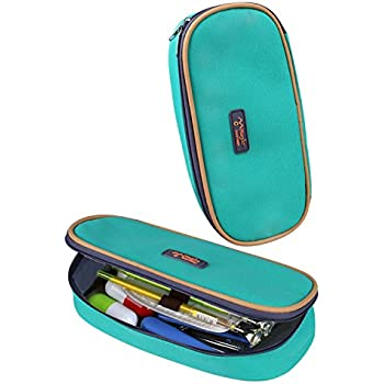 Cool Pencil Case, KinHom Portable Large Capacity Cute Watercolor Pen Bag Magic Multifunction Cosmetic Stationery Pouch Organizer for Kids in School with Love Color 1PC (Green)