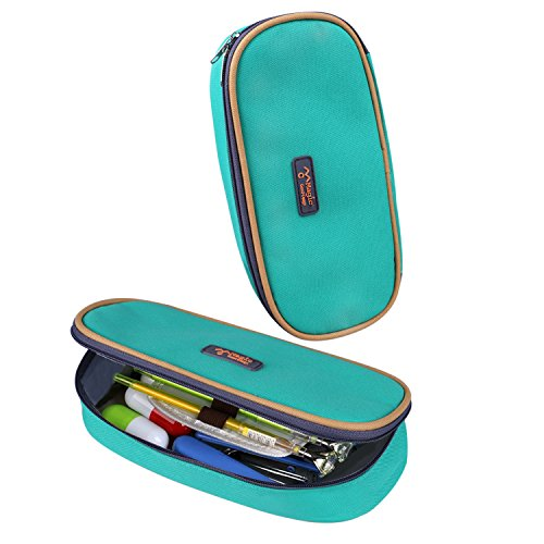 Cool Pencil Case, KinHom Portable Large Capacity Cute Watercolor Pen Bag Magic Multifunction Cosmetic Stationery Pouch Organizer for Kids in School with Love Color 1PC (Crochet Boxes)