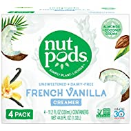 nutpods French Vanilla Dairy-Free Creamer (4-pack) Unsweetened Whole30/Paleo/Keto/Vegan/Sugar Free