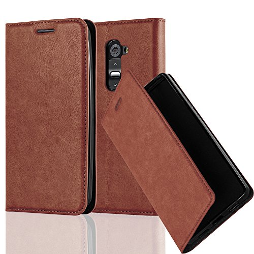 Cadorabo Book Case Works with LG G2 in Cappuccino Brown - with Magnetic Closure, Stand Function and Card Slot - Wallet Etui Cover Pouch PU Leather Flip