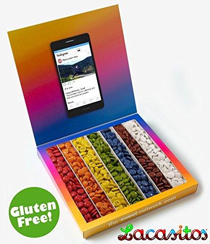 Caja tipo Instagram 23x23cm con mensaje personalizado, su interior contiene 750g de golosinas Fruit: Amazon.es: Alimentación y bebidas