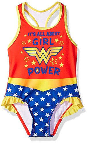Warner Bros. Toddler Girls' Wonder Woman Swimsuit, Candy, 3T]()