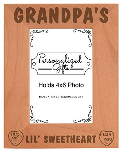 Grandpa's Lil Sweetheart Baby Granddaughter Natural Wood Engraved 4x6 Portrait Picture Frame Wood