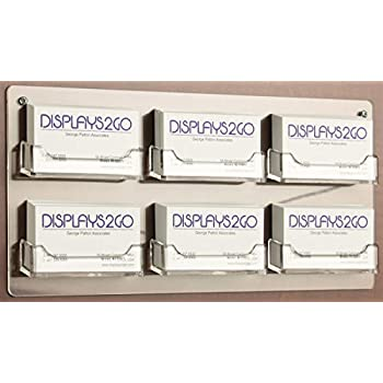 Image of Business Card Holders Displays2go Wall Mounted Business Card Holders, 6-Pocket Rack, Set of 15, Clear Acrylic (BCCWM6PK)