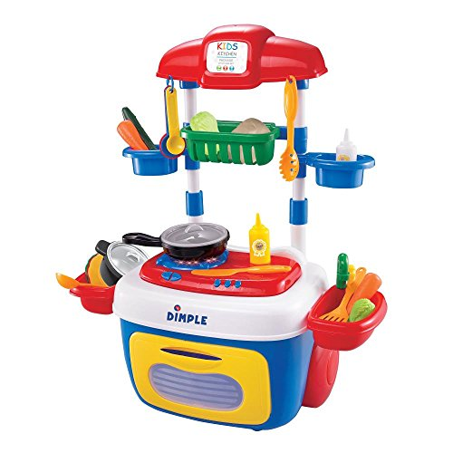 Dimple DC13997 on the Go Carrier Toy (30-Piece) Lights and Sounds, Kitchen Set Childrens Toy Stove