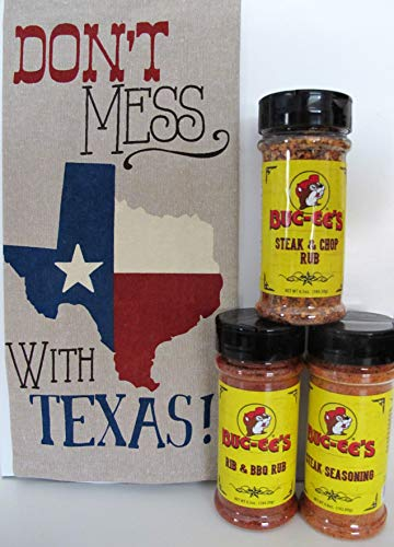 "Buc-ee's Steak & Chop Rub, Rib & BBQ Rub, Steak Seasoning (3 Pack Gift Set with""Don't Mess With Texas"" Novelty Towel)"