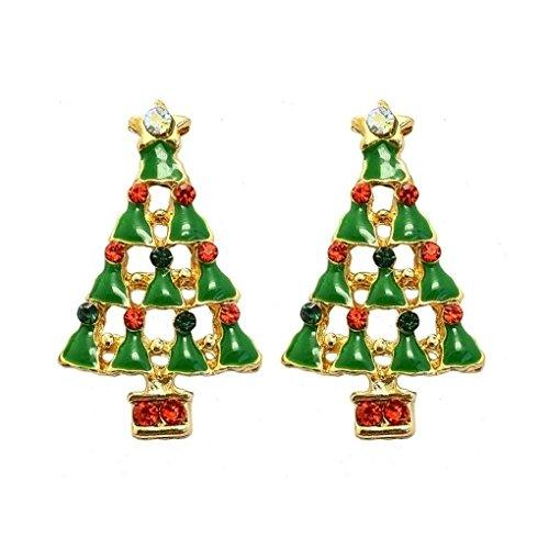Christmas Colorful Rhinestone Christmas Tree Stud Earrings