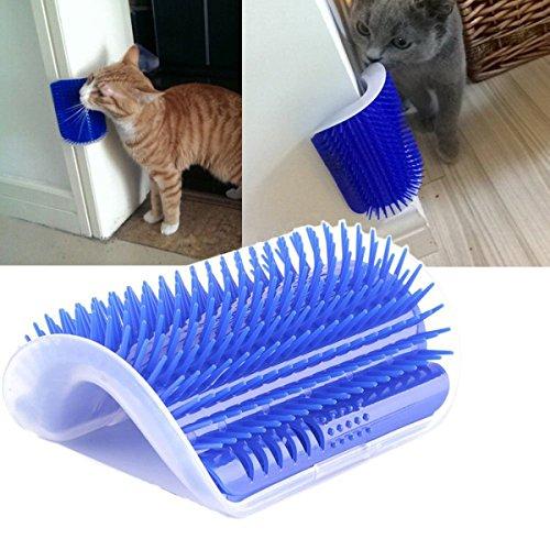 Purrkins Cat Corner Groomer, Cat Groomer, Cat Self Groomer with Catnip, Cat Corner Groomer Brush Including Catnip, Cat Massager, Wall Corner Massager